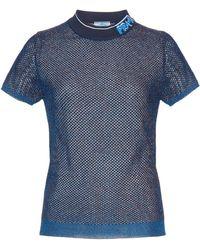 Prada Logo Collar Lurex Mesh Waffle-knit Top - Blue