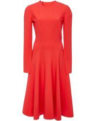 Oscar de la Renta - Pleated Wool-blend Cady Midi Dress - Lyst