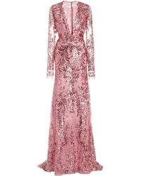 Naeem Khan Sequined Chiffon Gown - Pink