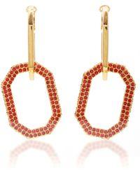 Oscar de la Renta Gold-tone And Pavé Crystal Earrings - Red