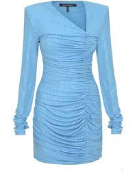 Mach & Mach Ruched Sequined Mini Dress - Blue