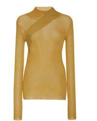 Peter Do Seatbelt Ribbed-knit Mesh Sweater - Yellow