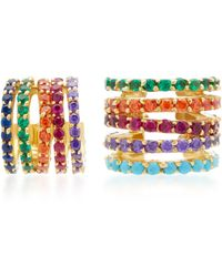 Joanna Laura Constantine | Gold-plated Rainbow Crisscross Same-ear Hoop Earrings | Lyst