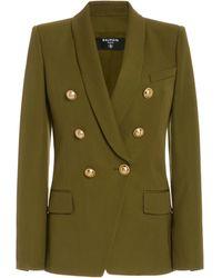 Balmain Double-breasted Wool Blazer - Green