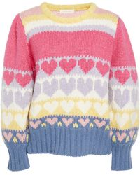 LoveShackFancy Shirelle Icing Alpaca And Wool-blend Pullover Sweater S - Pink