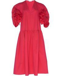 Delpozo Frill-detailed Trapeze Cotton-poplin Dress - Red