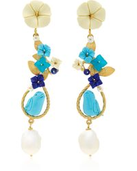 Of Rare Origin Exclusive: Mating Bird 18k Gold Multi-stone Earring - Blue