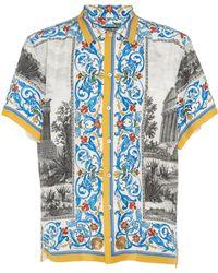 Dolce & Gabbana - Men's Temple Print Short-sleeve Button-down Shirt - Lyst