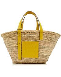 Loewe Small Raffia And Leather Basket Bag - Yellow