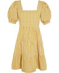 Faithfull The Brand Eldora Mari Check Print Cotton Poplin Mini Dress - Yellow