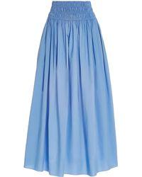 Matteau Shirred Cotton Maxi Skirt - Blue
