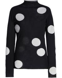 Carolina Herrera Printed Turtleneck Silk-wool-cotton Top - Black