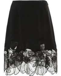 Claudia Li - Charmeuse Skirt With Floral Applique - Lyst