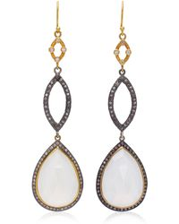 Sara Weinstock Tiered 18k Gold, Moonstone And Diamond Earrings - Pink