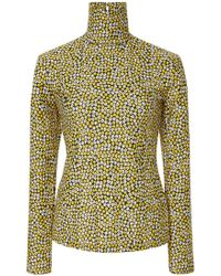 ROKH Mask Turtleneck Floral Long Sleeve Printed Top - Yellow