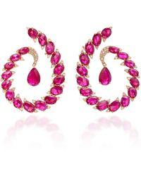 Sutra - Ruby And Diamonds Hoops Earrings - Lyst