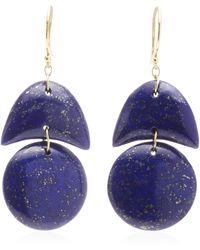 Ten Thousand Things Hand Cut Lapis Tiny Arp Earrings - Blue