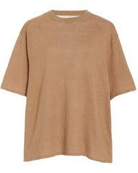 St. Agni Copain Oversized Knit Linen T-shirt - Brown