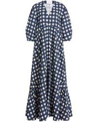 Victoria, Victoria Beckham Puff-sleeve Gingham Faille Maxi Dress - Blue