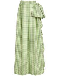 Carolina Herrera Plaid Wide-leg Stretch-wool Trousers - Green