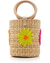 Poolside Bobbi Floral-embroidered Straw Bucket Bag - Multicolour