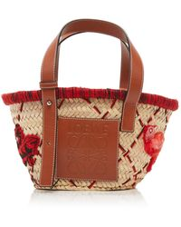 Loewe Small Leather-trimmed Embroidered Straw Tote