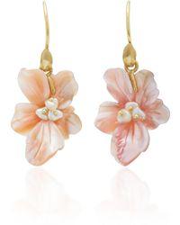 Annette Ferdinandsen - 18k Gold Mother Of Pearl African Violet Blossom Earrings - Lyst