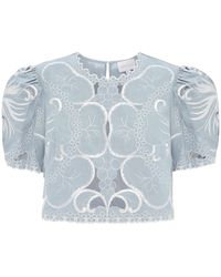 Alice McCALL Dissolving Hearts Linen And Cotton Crop Top - Blue