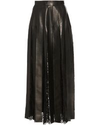 Elie Saab - Lace And Leather Fringe Skirt - Lyst
