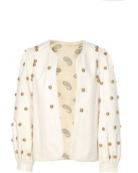 Alix Of Bohemia Limited Edition Cecile Hand-embroidered Gold Dome Jack - White