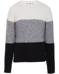 AMI - Colorblock Wool-blend Sweater - Lyst