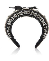 Prada - Embroidered Satin Headband - Lyst