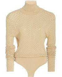 Nanushka Peri Turtleneck Knit Bodysuit - Grey