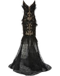 Pamella Roland Strapless Chantilly Lace Dress - Black
