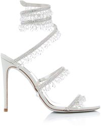 Rene Caovilla Exclusive Crystal-embellished Sandal - White