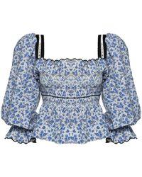 Lug Von Siga Elisa Floral Cotton-blend Top - Blue