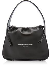 Alexander Wang Ryan Small Leather Drawstring Bag - Black