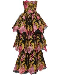 Marchesa - Tiered Floral Embroidered Gown - Lyst