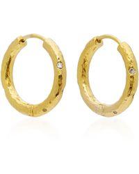 Octavia Elizabeth - 18k Gold Diamond Hoop Earrings - Lyst