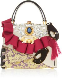 Dolce & Gabbana - Ruffle Embellished Top Handle Leather Bag - Lyst