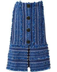 Rodebjer Lake Striped Textured Cotton-blend Midi Skirt - Blue