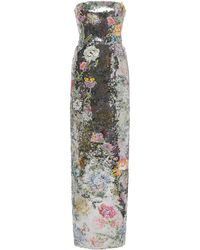 Monique Lhuillier Embroidered And Sequined Strapless Gown - Metallic
