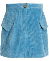 Ciao Lucia Jane Corduroy Mini Skirt - Blue