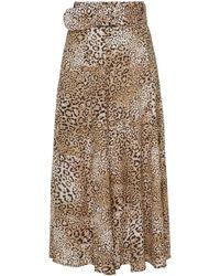 Faithfull The Brand Luda Belted Leopard-print Crepe Midi Skirt - Multicolour