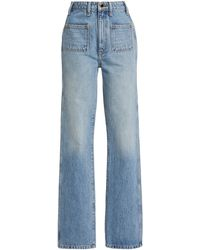 Khaite Isabella Rigid High-rise Straight-leg Jeans - Blue