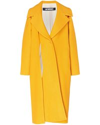 Jacquemus Spliced Cotton And Linen-blend Coat - Yellow