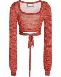 Alexis Loli Space-dyed Knit Crop Top - Red