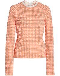 Victoria, Victoria Beckham Slim Checked Jacquard-knit Top - Orange