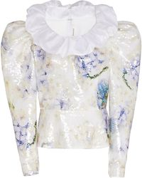 Rodarte Ruffle Detail Floral Sequined Top - White