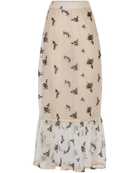 Rahul Mishra Bouquet Embroidered Sheer Chiffon Skirt - Natural